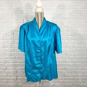 Vintage Ms. Bond Shiny Blue Button Up Shirt